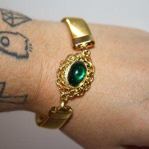 """Vintage gold and green bracelet 7.5"""""""